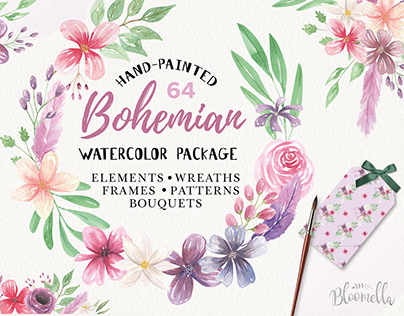 Bohemian Watercolour HUGE Flower Foliage Package Set