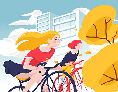 Vector illustration cyclist girl