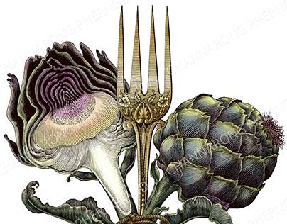 Artichoke and antique fork