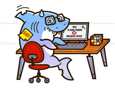 Shark Nerd T-shirt design