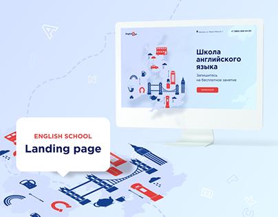 Landing page for english language school