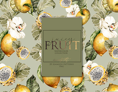 Floral tropical paper pack Lemons avocado patterns
