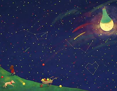 """Schommelen tussen de sterren"" Illustration"