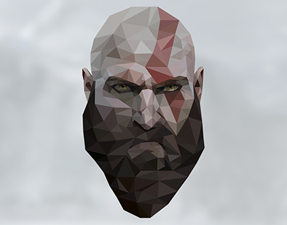 kratos lowpoly illustration