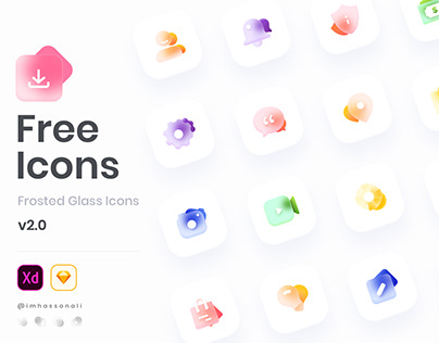 Freebie - Glass Icons Set for Sketch and XD V2.0