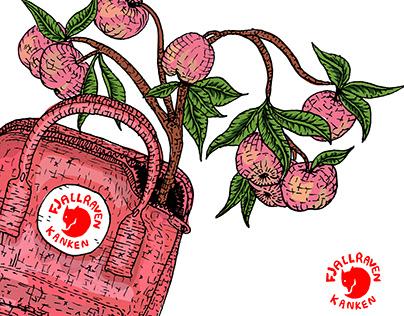 Peach Fjallraven Kanken bag illustration