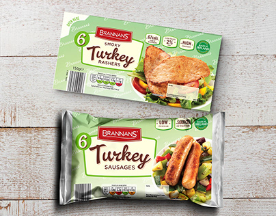 Brannans Turkey Rashers, Sausages and Lardons packaging