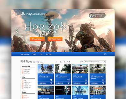 PlayStation Store Website Redesign Concept