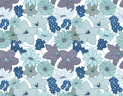 Grey and Blue Floral Pattern