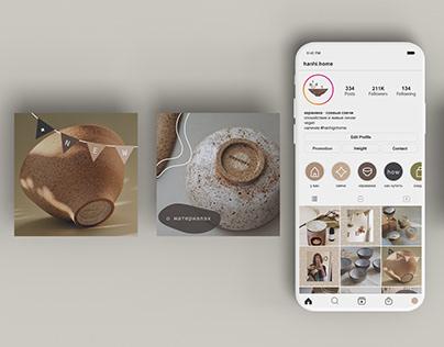 Instagram redesign for hanhi.home ceramics
