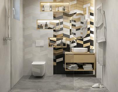 Bathroom #wood #white #anthracite