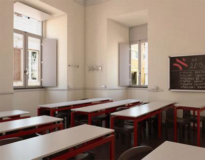 Classrooom   3D Modeling & Rendering