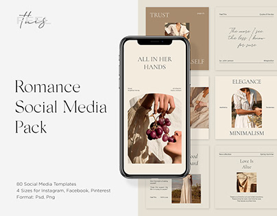 Romance Social Media Pack Canva PS Instagram Templates