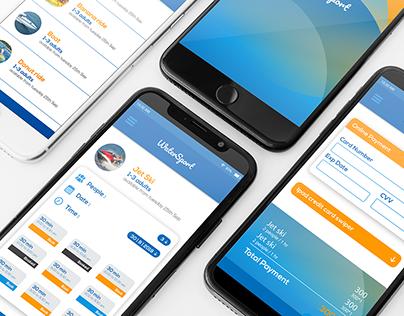 watersport mobile UI UX design