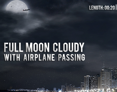 Full Moon Cloudy with Airplane Passing