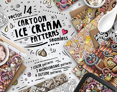 Ice Cream Seamless Patterns Pack