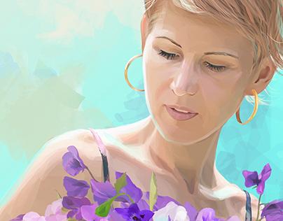 bouquet of violets (CorelDRAW vector portrait).