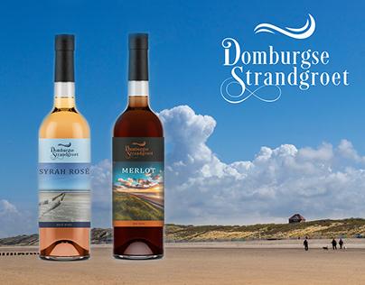 Design quality wine bottle label Domburg beach - NL
