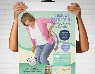 Neck Or Back Pain A4 Eye Catching Flyer Design