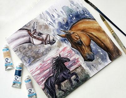 Watercolor horses Illustration