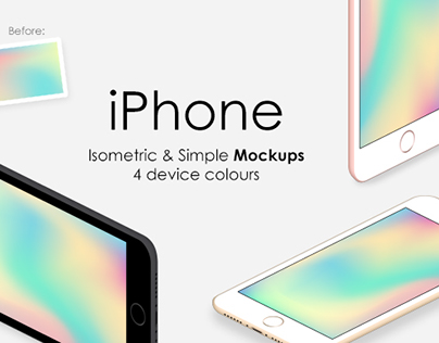 iPhone Isometric & Simple Mockups