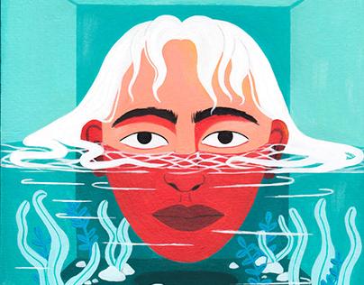 Head in water
