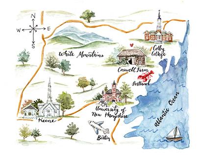 Coastal Watercolor Maps