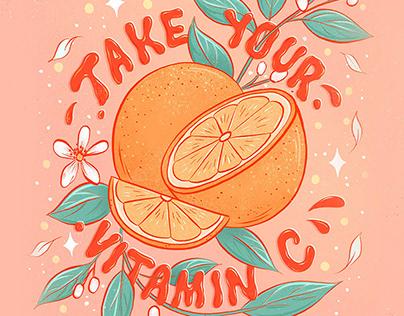 Take Your Vitamin C Adobe Fresco Lettering