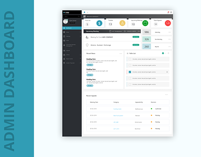 Admin dashboard design