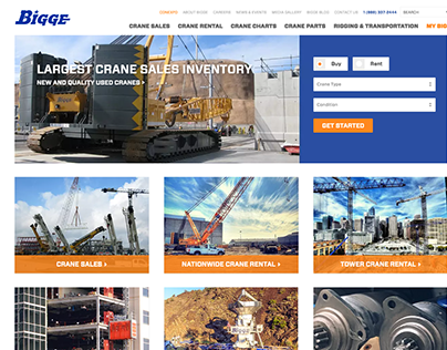 Bigge Crane Website using Expression Engine, Salesforce
