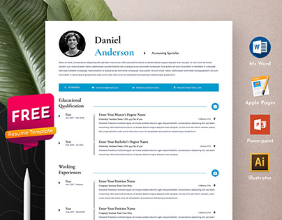 Free Clean Resume Cv Template in Word Apple Pages