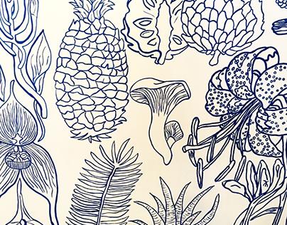 MURAL TROPICAL - Ilustración botánica en azul