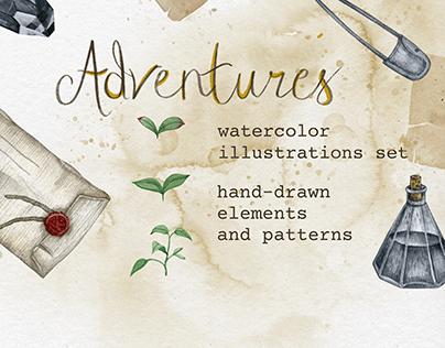 Set of Watercolor illustrations - Adventures