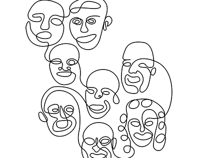 homage to picasso - one-line portraits or illustrations
