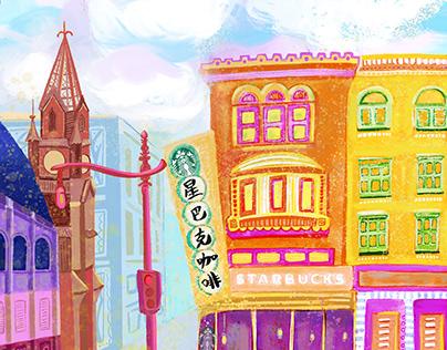 """Chinatown in Washington DC"" city illustration"
