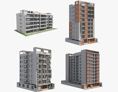 4 Apartment Buildings Set_2