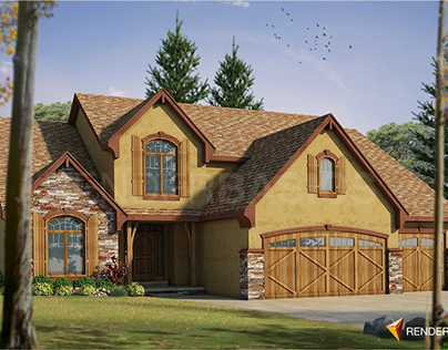 American House 3D Exterior Visualization