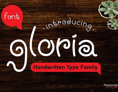 gloria, handwritten type, font