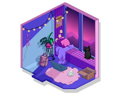 Pixel art Illustration ( Lo-fi / Synthwave)