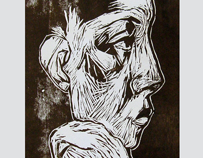 Portrait of a linocut