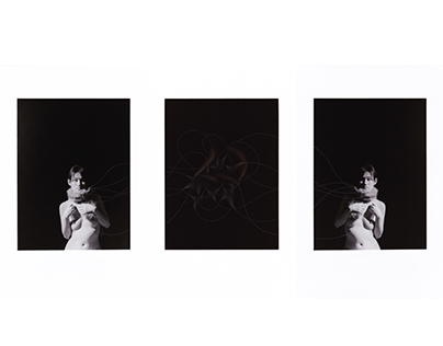 "photograph with pin scratchings ""triptych"""