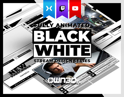 Animated Clean Simple Black White Twitch Stream Design