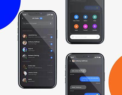 Messaging App- Dark Mode UI