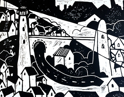 Linoprint - Imiginary town