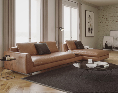 Walter Knoll leather sofa render vray next