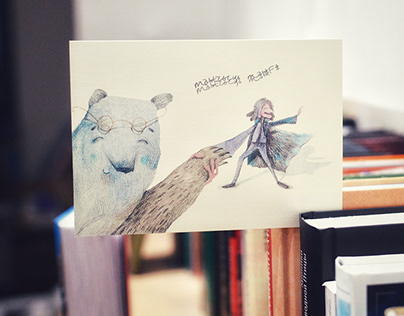 Mascot postcards for the local bookshop