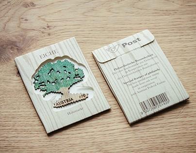 Sonderbriefmarke aus Eichenholz