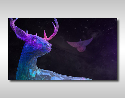 ABSTRACT POSTER WITH A DEER