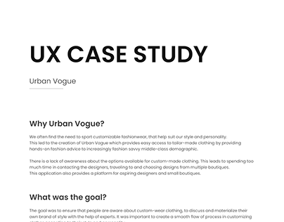 UX Case Study for Urban Vogue