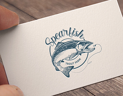 Spearfish Trout Farm Illustrative Logo Design